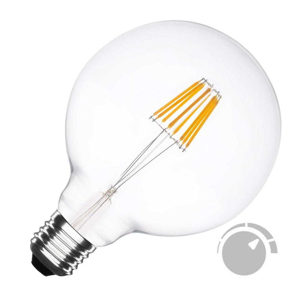 Bombilla Led E27 COB filamento 6W, Ø95x138mm, Regulable, Blanco cálido, Regulable